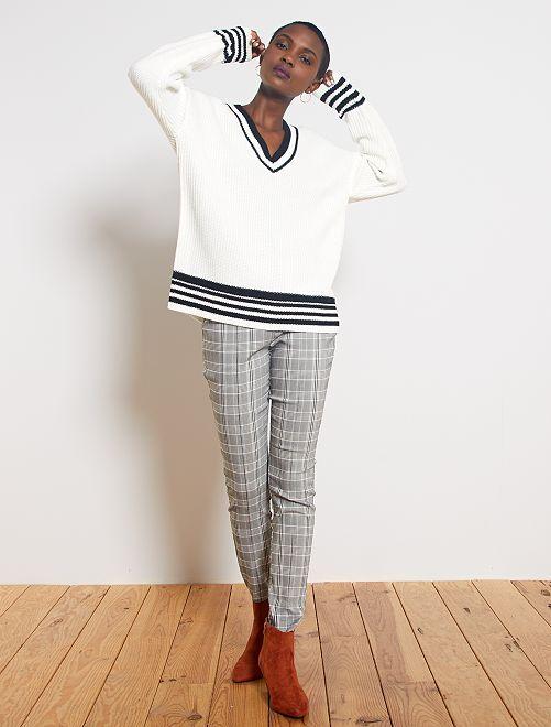 Pantalon skinny imprimé 'Prince de Galles'                                                     carreaux gris