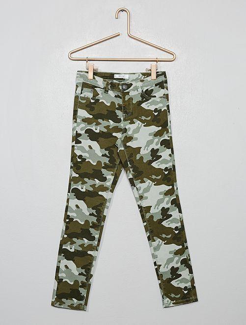 Pantalon skinny imprimé                                                                 vert camouflage