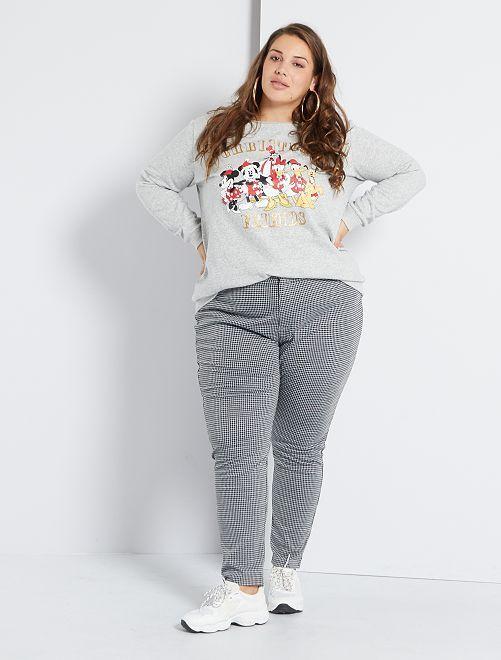 Pantalon skinny maille milano                                         noir/blanc carreaux