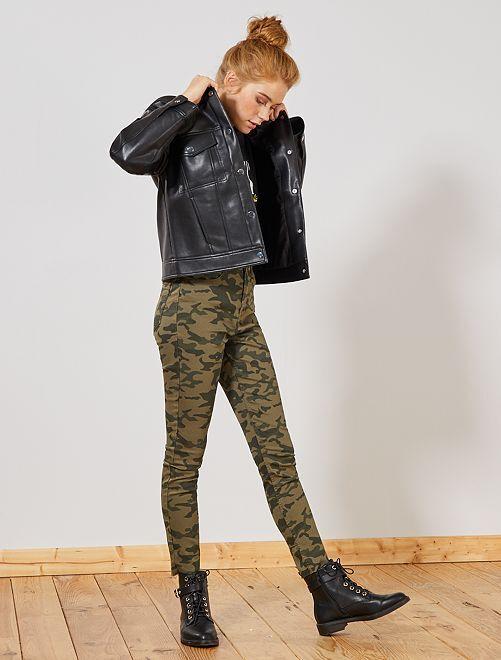 Pantalon skinny stretch imprimé                                                                                         camouflage