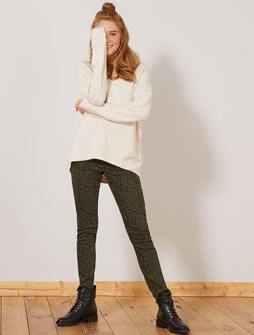 Pantalon skinny stretch imprimé                                                                                         kaki/léopard