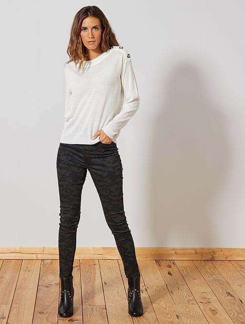 Pantalon skinny stretch imprimé                                                                                         noir/camouflage Femme