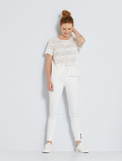 Pantalon skinny taille haute                                         blanc cassé