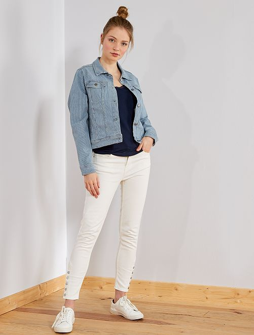 pantalon skinny taille haute femme blanc kiabi 18 00. Black Bedroom Furniture Sets. Home Design Ideas