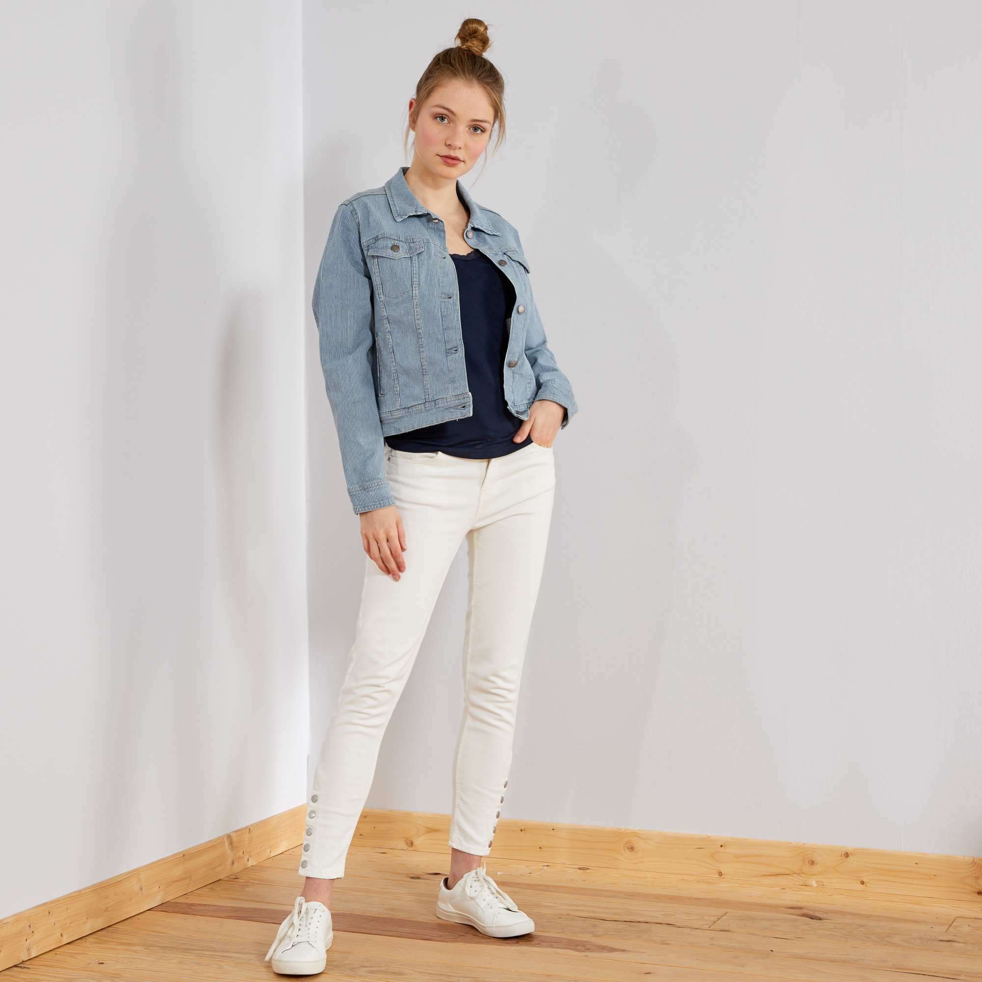 Merveilleux Pantalon Skinny Taille Haute Blanc Femme. Loading Zoom