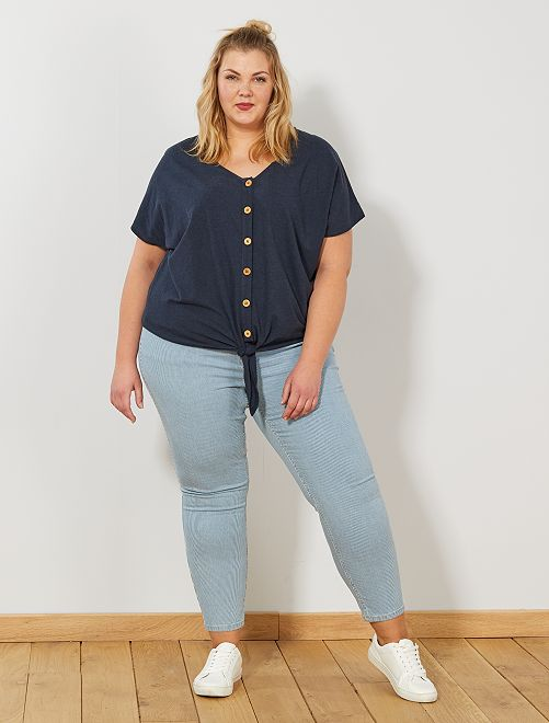 Pantalon skinny taille haute                             BLEU Grande taille femme
