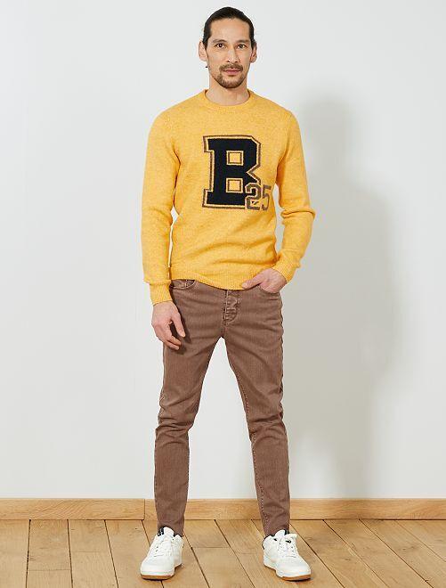 Pantalon skinny tapered                                         marron gris Homme