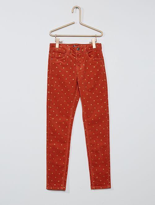 Pantalon skinny velours côtelé                                                                                         brique