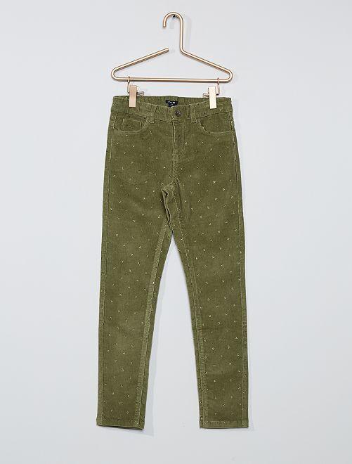Pantalon skinny velours côtelé                                                                                                     kaki