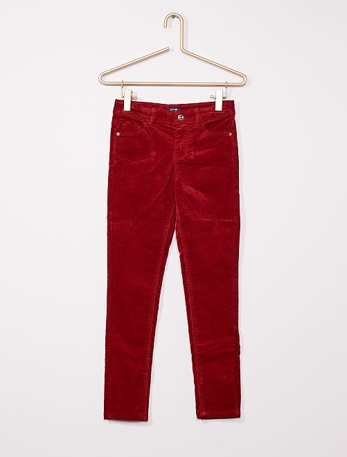 Pantalon skinny velours côtelé                                                                                                     rouge