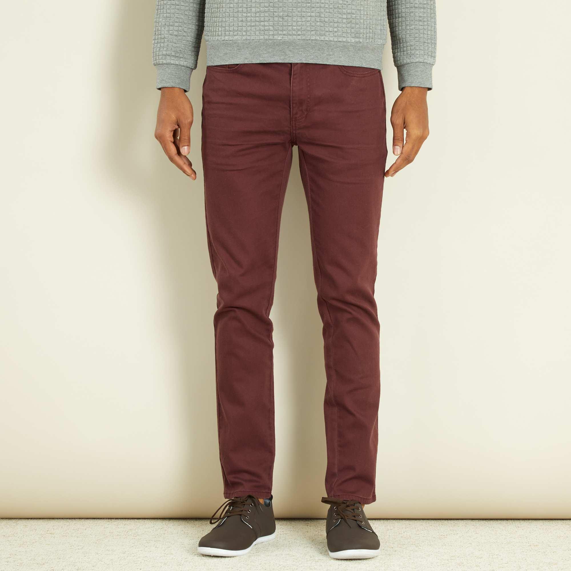 pantalon homme bordeaux slim,Pantalon slim 5 poches coton stretch bordeaux  Homme. Loading zoom