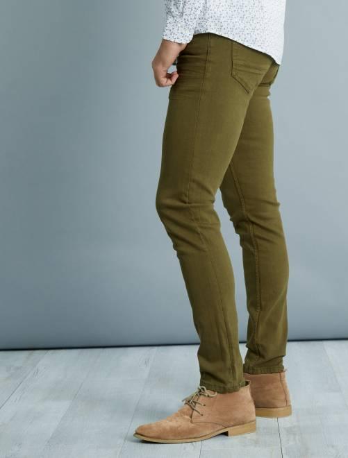 pantalon slim 5 poches coton stretch homme kaki kiabi. Black Bedroom Furniture Sets. Home Design Ideas