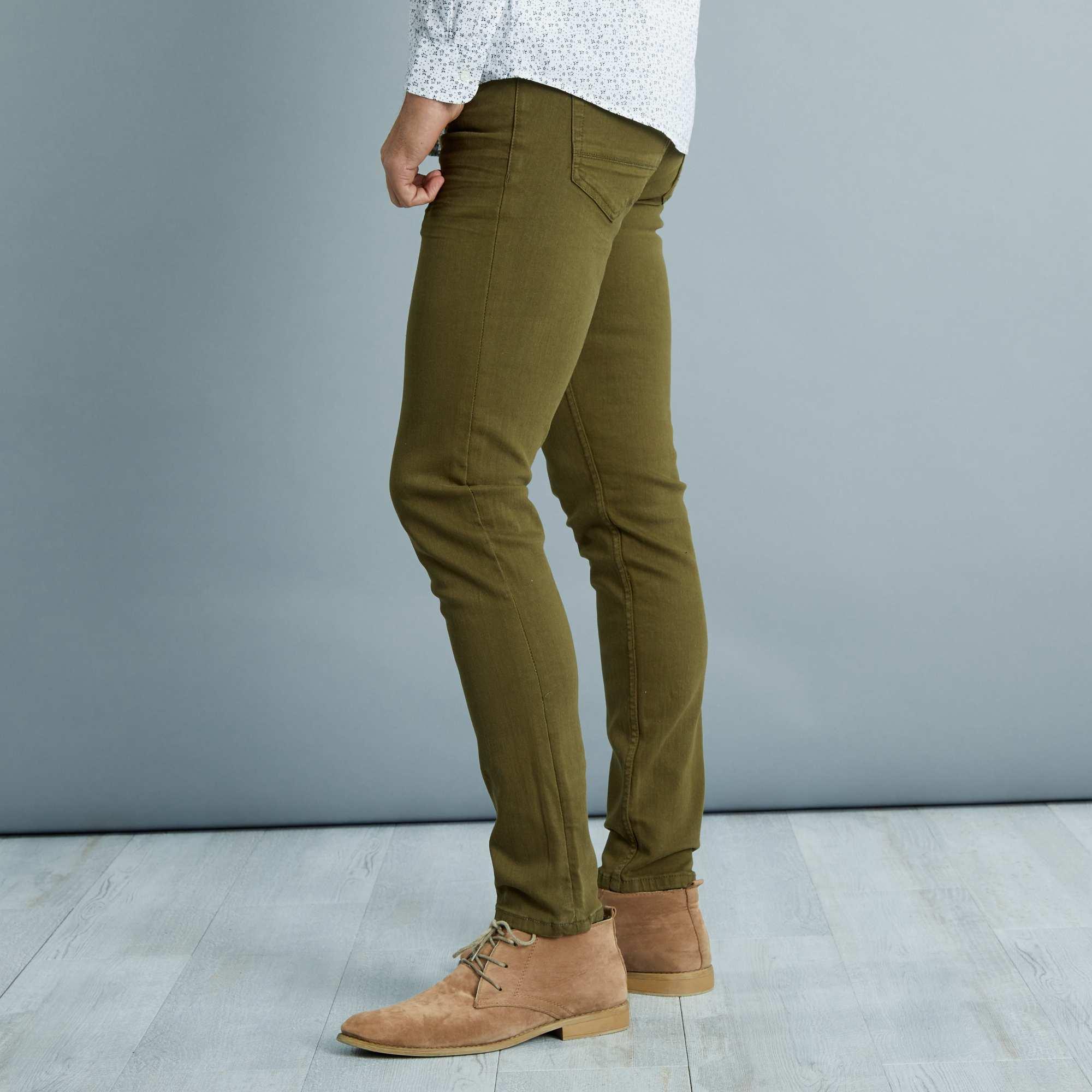 pantalon slim 5 poches coton stretch homme kaki kiabi 25 00. Black Bedroom Furniture Sets. Home Design Ideas