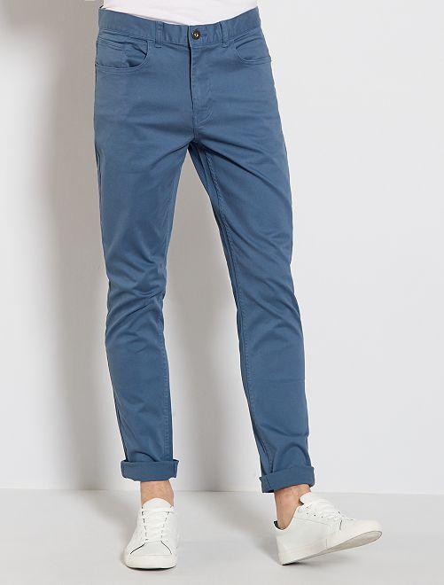 Pantalon slim 5 poches en twill                                                                                                                             bleu gris