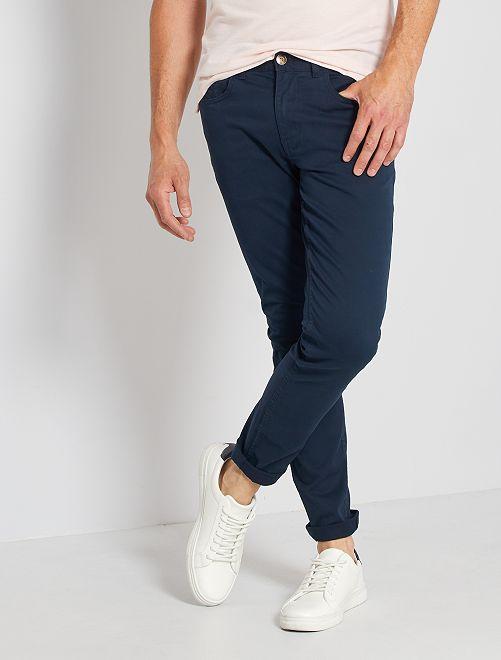Pantalon slim 5 poches en twill                                                                                                     bleu marine Homme