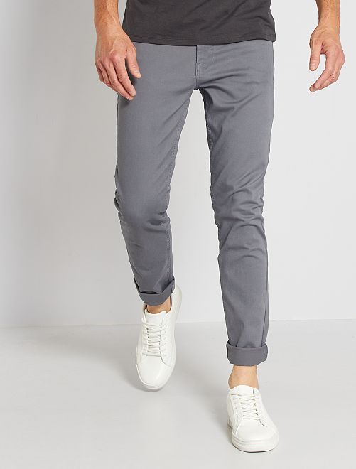 Pantalon slim 5 poches en twill                                                                                                                     gris