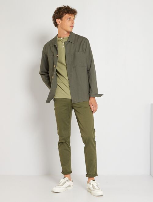 Pantalon slim 5 poches en twill                                                                                                                             kaki