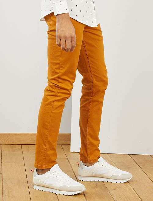Pantalon slim 5 poches en twill                                                                                                                             orange