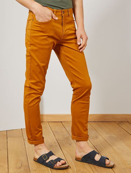 Pantalon slim 5 poches en twill                                                                                                                                                     rouille