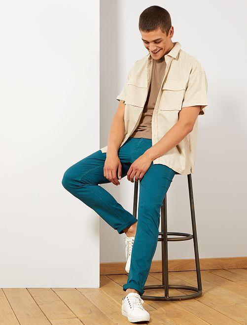 Pantalon slim 5 poches en twill                                                                                                                 vert foncé Homme