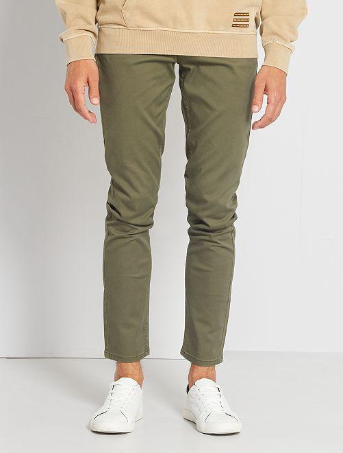 Pantalon slim 5 poches en twill                                                                                                                                             kaki