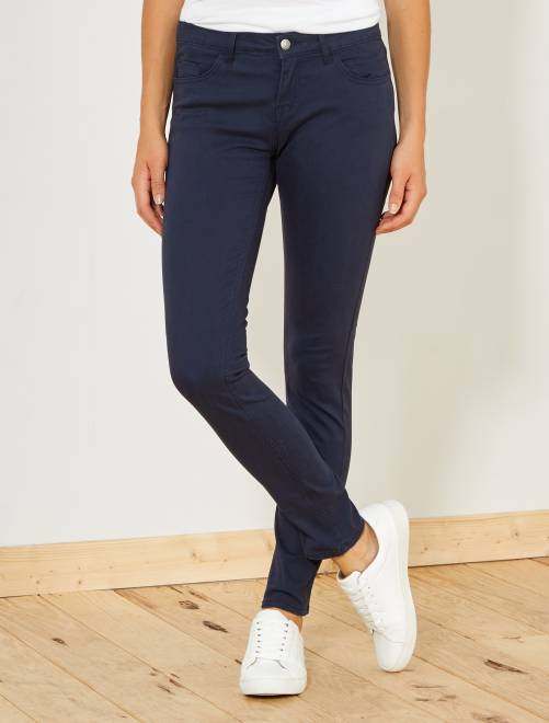 17e465271dec8 Pantalon slim 5 poches stretch Femme - bleu marine - Kiabi - 10