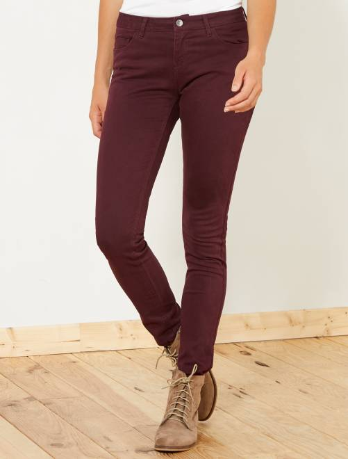 Pantalon slim 5 poches stretch                                                                                                                                                                                                     bordeaux