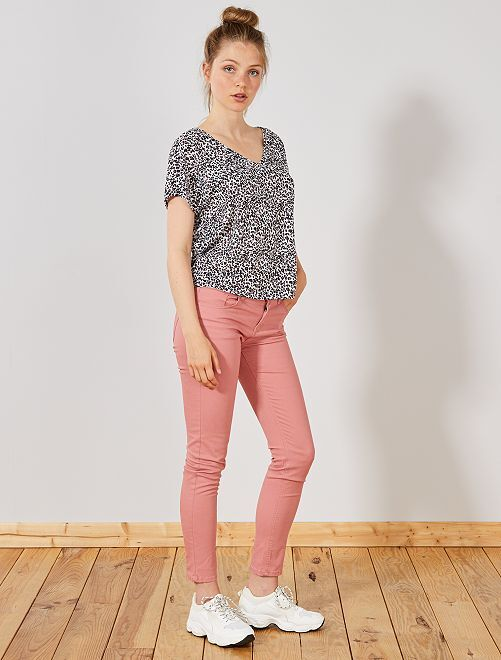 Pantalon slim 5 poches stretch                                                                                                                                                                                                     rose
