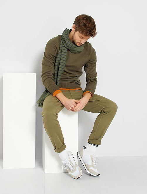Pantalon slim 5 poches                                                                                                                                         vert lichen