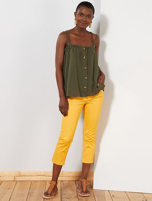 Pantalon slim 7/8e                                                                                                                                                     jaune Femme
