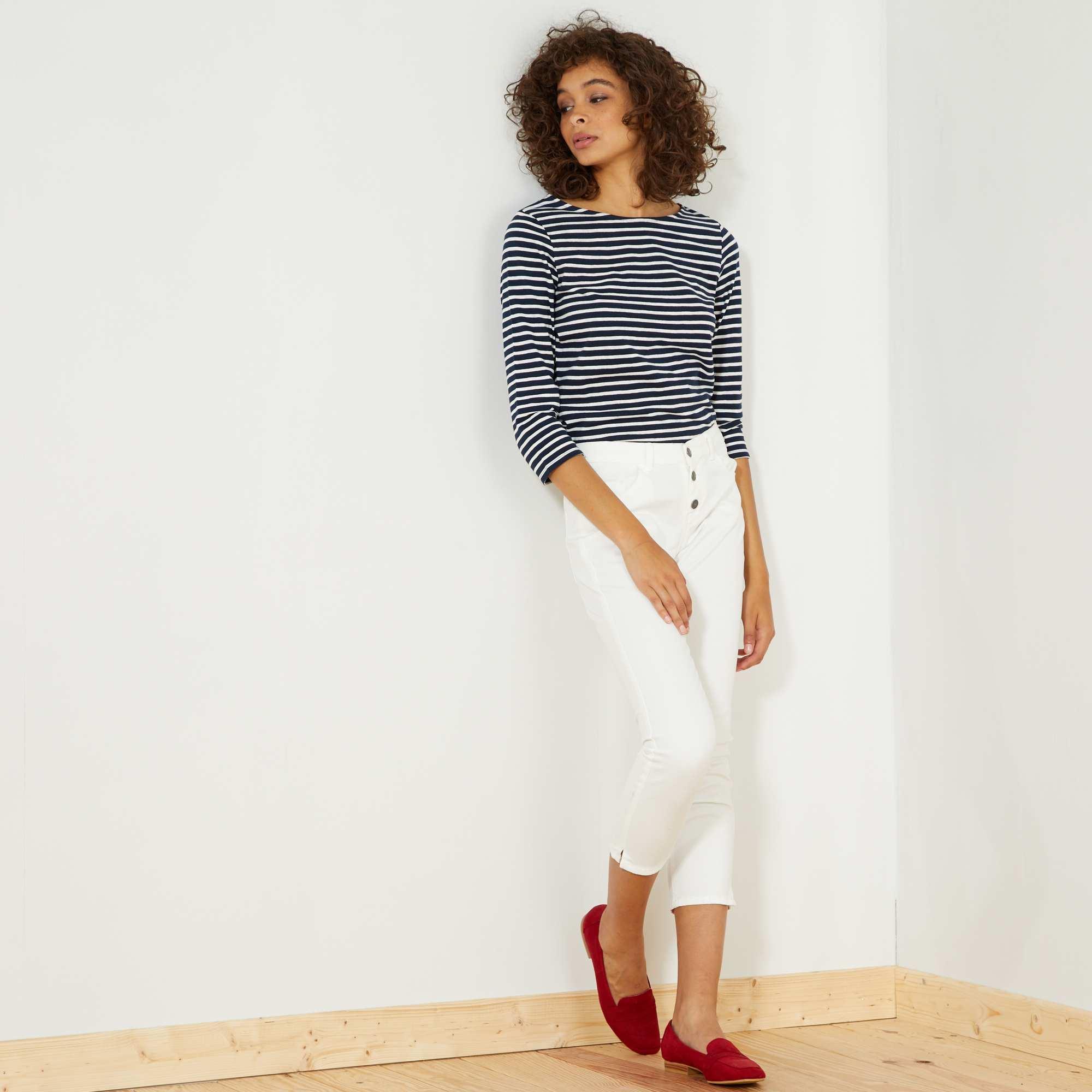 pantalon slim 7 8e taille haute femme blanc kiabi 7 20. Black Bedroom Furniture Sets. Home Design Ideas