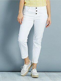 Pantalon blanc - Pantalon slim 7/8ème 3 boutons