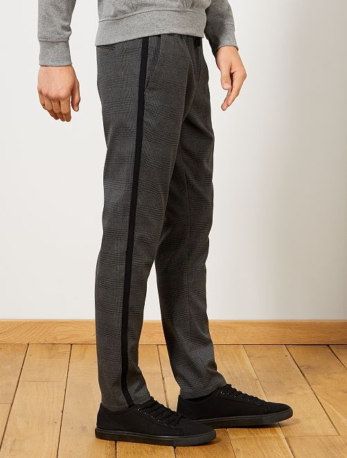 Pantalon slim à carreaux                             gris Homme