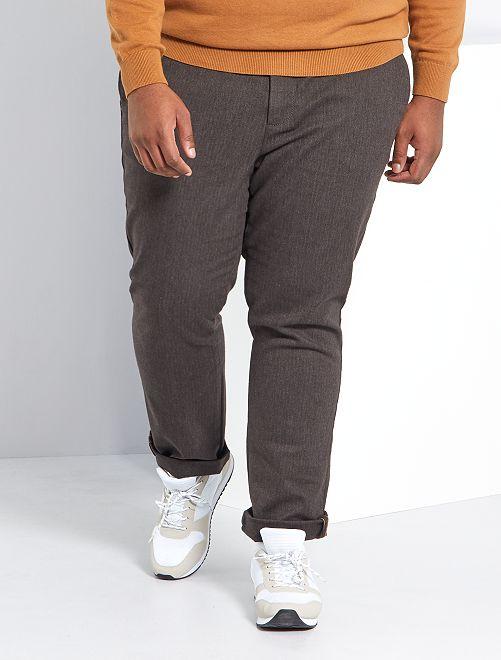 Pantalon slim à chevrons                             marron
