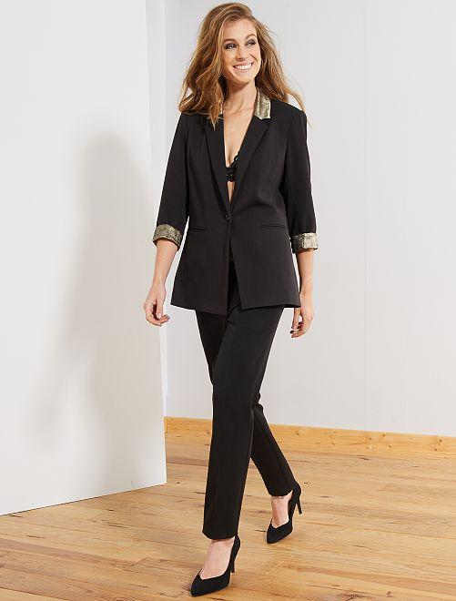 Pantalon slim avec détails dorés                             noir
