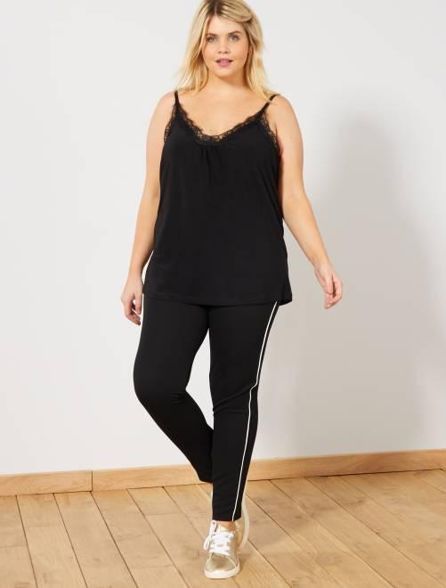 Pantalon slim bande côté                                         noir/blanc Grande taille femme
