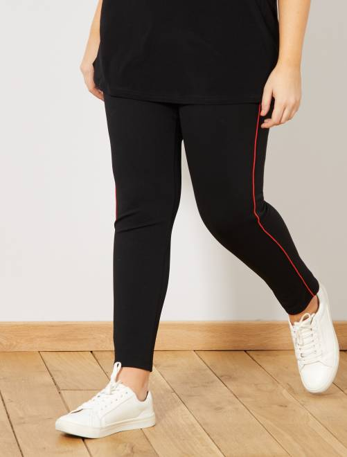 pantalon slim bande c t grande taille femme noir rouge. Black Bedroom Furniture Sets. Home Design Ideas