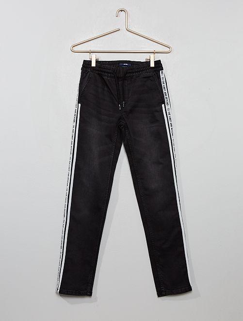 Pantalon slim bandes imprimées                                         noir