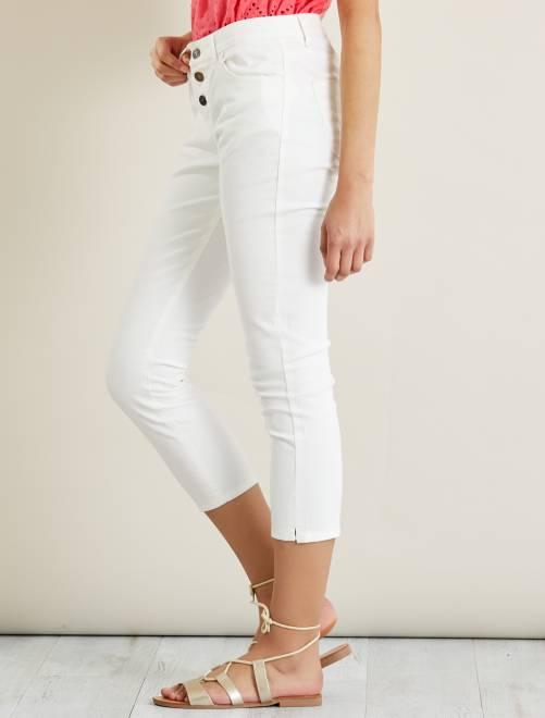 Pantalon slim boutonné 7/8ème                                         blanc Femme