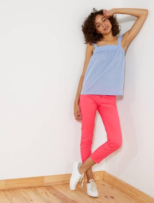 pantalon slim boutonn 7 8 me femme rose kiabi 8 40. Black Bedroom Furniture Sets. Home Design Ideas