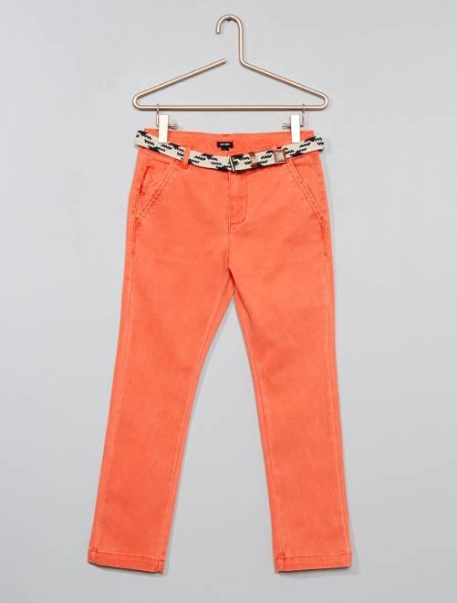 Pantalon slim + ceinture tressée                     rouge