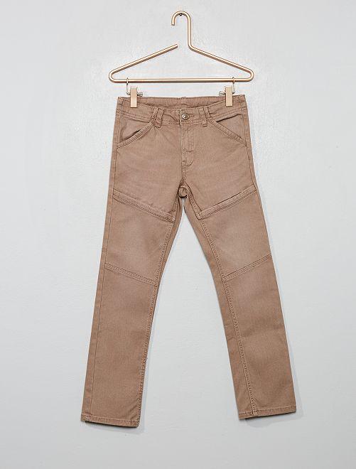 Pantalon slim détails genoux                                                     gris beige