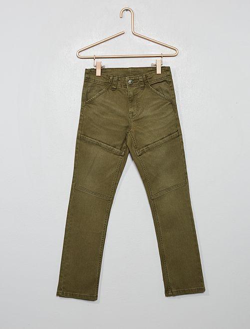 Pantalon slim détails genoux                                                     kaki