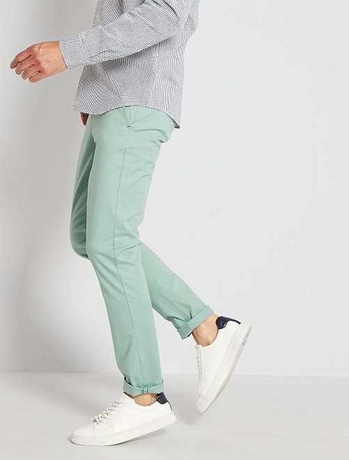 Pantalon slim éco-conçu                                                                                                                                                                                                                                                                                                                                                                                                     vert gris