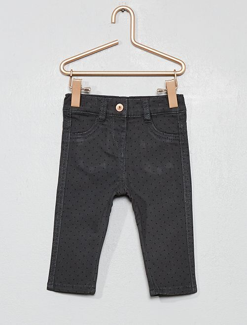 Pantalon slim en coton stretch                             gris pois