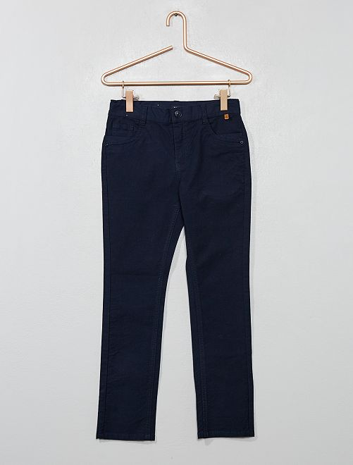 Pantalon slim en coton stretch texturé                                         bleu marine