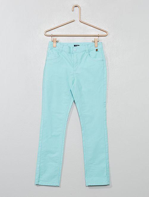 Pantalon slim en coton stretch texturé                                         bleu turquoise Garçon