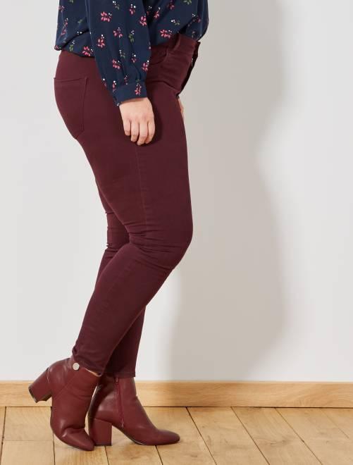 En Taille Stretch Grande Pantalon Slim Noir Femme Gabardine vfB4xn5wHq