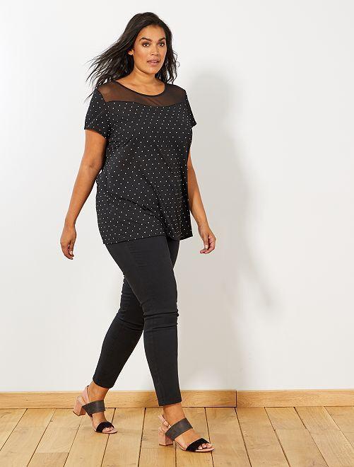 Pantalon slim en gabardine stretch                                                     noir Grande taille femme
