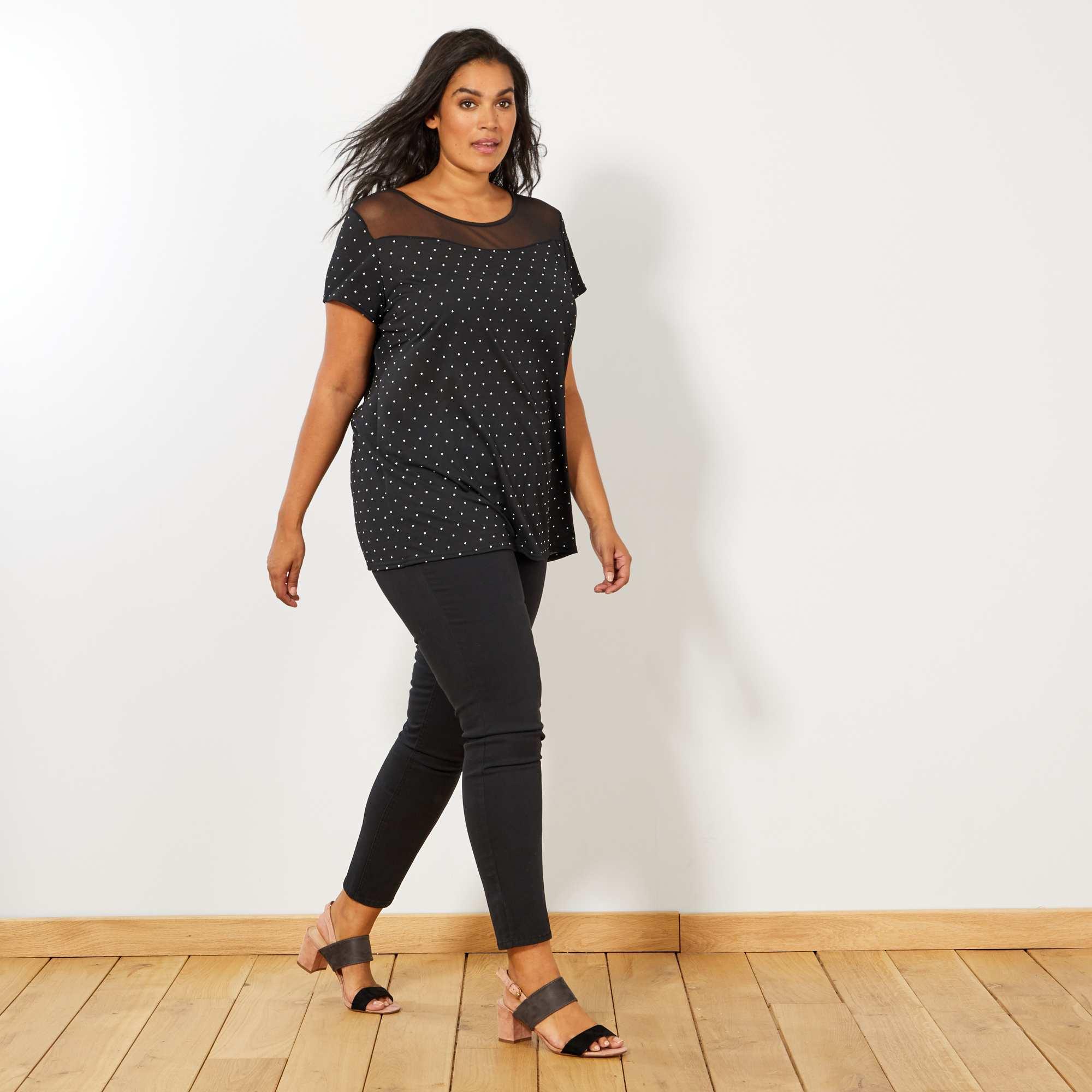 pantalon slim en gabardine stretch grande taille femme noir kiabi 18 00. Black Bedroom Furniture Sets. Home Design Ideas